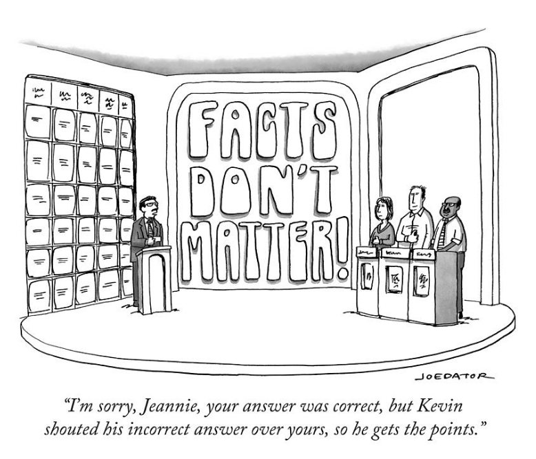 Cartoon by Joe Dator: I'm sorry, Jeannie, your answer was correct but Kevin shouted his incorrect answer over yours, so he gets the points